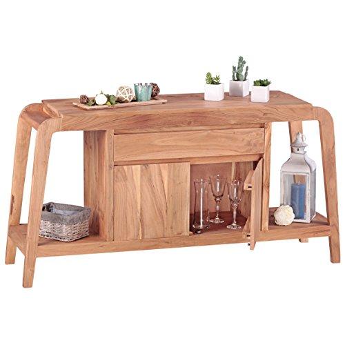 WOHNLING Sideboard Massivholz Akazie Kommode 150 cm 1 Schublade 1 Fach Design Highboard Landhaus-Stil braun natur Echt-Holz Schubladenkommode Natur-Produkt Flur-Möbel Aufbewahrung Dielen-Möbel
