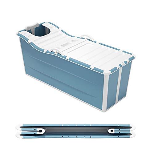 IJNUHB Badewanne Erwachsene Faltisolierung Freistehende Klapp-Badewanne Weicher Badeeimer Mit Deckel Tragbare Badefässer Einweichbad Multifunktional Duschkabine,Blau