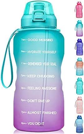 Fidus botella de agua grande de 1 galón / 128 oz motivacional con marcador de tiempo y popote, a prueba de fugas, jarra de agua sin BPA, asegúrate de beber suficiente agua diariamente para fitness, gimnasio y deportes al aire libre
