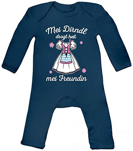 ShirtStreet Gaudi Wiesn Oktoberfest Baby Strampler Langarm Schlafanzug Jungen Mädchen Oktoberfest - Mei Dirndl drogt heit mei Freundin, Größe: 12-18 Monate,Nautical Navy
