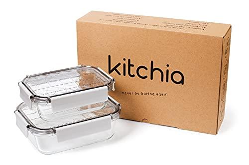 Kitchen - Recipiente de vidrio con tapa - Recipientes de vidrio para almacenar alimentos Apto para lavavajillas, microondas y congelador - Tapa a prueba de fugas para la comida
