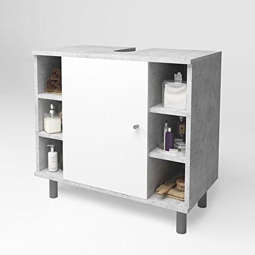 Vicco Waschtischunterschrank Fynn Badschrank Badezimmerschrank Waschbeckenunterschrank Badmöbel (Beton-Grau/Weiß)