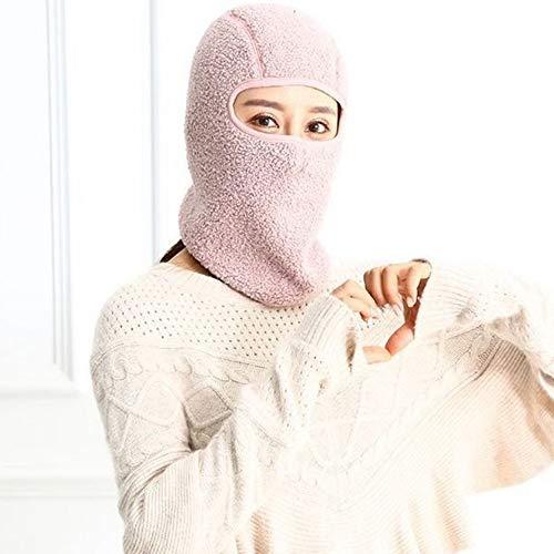 George zhang Masque Chapeau Unisexe Hiver équitation en extérieur Face Chaude épaisse et la Protection de l'oreille Trois en Un Masque en Peluche,Pinkallinclusive