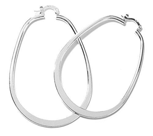 2LIVEfor grandes Aros plata pendientes para inodoro elegancia adornado con clip stud ovalado
