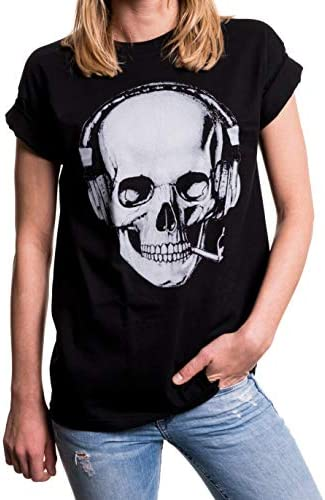 MAKAYA Top Talla Grande Manga Corta - Auriculares - Camiseta Musica para Mujer con Calavera
