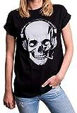 MAKAYA Damen Shirt Totenkopf - Rockiges Skull Top mit Kopfhörern - Oversize weit geschnitten Übergrößen schwarz große Größen XXXL