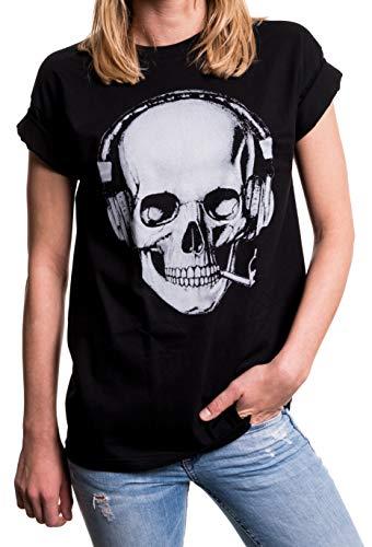MAKAYA Damen Shirt Totenkopf - Rockiges Skull Top mit Kopfhörern - Oversize weit geschnitten Übergrößen schwarz große Größen M