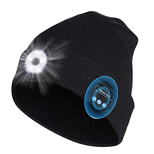 Gorro con Bluetooth, Gorro de Punto con Luz Recargable, Altavoz Inalámbrico para Auriculares con Micrófono Estéreo Incorporado para Hombres, Mujeres y Adolescentes