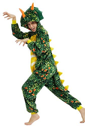 YULOONG Erwachsene Tier Onesies Pyjamas Löwe Tiger Dinosaurier Hund Halloween Weihnachtsfeier Cosplay Kostüm für Frauen Mann