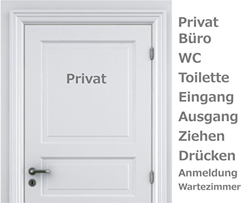 WERBUNGkreativ Türaufkleber Privat Büro WC Toilette Eingang Ausgang Ziehen Drücken Anmeldung Wartezimmer Farb+Motivwahl ca 25 cm in 33 Farben matt oder glänzend