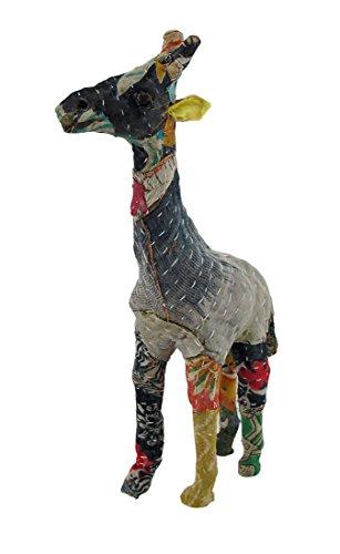 Vintage Sari Tela Envuelto papel maché jirafa escultura 10en.