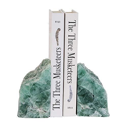 Juego de 2 sujetalibros de ágata Natural Hours Sculpture Mitades Modernas Sujetalibros para la decoración del hogar de la Oficina-Verde