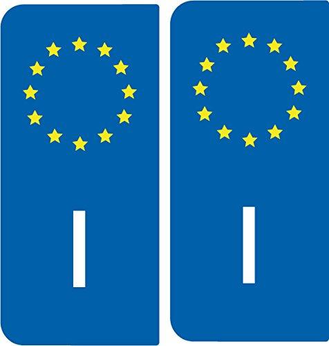 2Aufkleber für Nummernschild, Auto, I für Italien,europäisches Kennzeichen