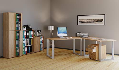 VCM Eckschreibtisch, Schreibtisch, Büromöbel, Computertisch, Winkeltisch, Tisch, Büro, Lona 190x160x80: Sonoma-Eiche (Sägerau)