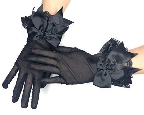 PANAX Edle kurze Damen Handschuhe mit Schleife aus feinem elastischem Netzstoff in Schwarz - Gloves in Einheitsgröße für Frauen, Hochzeiten, Oper, Bälle, Fasching, Karneval, Tanzen, Halloween.