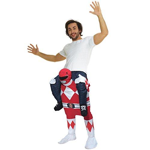 Morph Costume divertente con le gambe autogonfiabili, Unisex, Power Ranger Rosso, Taglia unica
