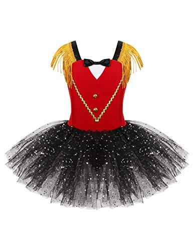 CHICTRY Kinder Mädchen Zirkus Kostüm Mesh Tutu Kleid Pailletten Tanzkleid Tanzbody Partykleid für Cosplay Halloween Fasching Gr. 92-140 Rot 122-128