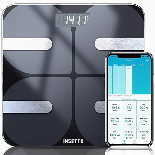 Smart Bathroom Scale with BMI and Body Fat, 11.8 inch Scales Digital Weight for People, Tracks 18 Key Fitness Compositions with Smartphone App, 400lbs, from INSETTO