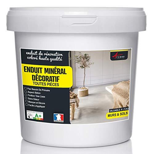 Enduit décoratif mural et sol rénovation chambre cuisine salle de bain - Fer - Kit 10 Kg - 6.5m²...