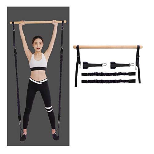Kit barra per pilates regolabile con fascia di res Portable Pilates Bar Kit con il piede Loop - Core Strength Fitness Gym Resistance Band Kit Bar - Ideale for la casa Total Body Workout, Palestra Dive