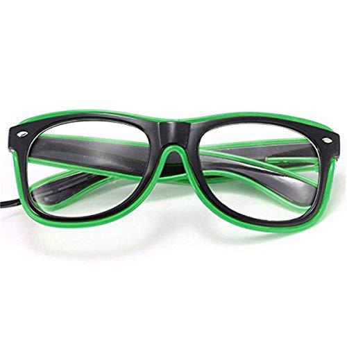 ERGEOB® Coole selbstleuchtende EL Wire Brille mit Batteriebetrieb und Modusänderung in Grün - DIE PARTYBRILLE Ideal für Fasching, Karneval, Festivals, Halloween, Raves, Clubbesuche.