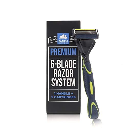Pacific Shaving Company Premium 6Blade Razor System Pivoting Head Constantly Maintains the Closest Contact with the Contours of your Skin 1 Razor Handle and 5 Razor Blade Refills 1 ea