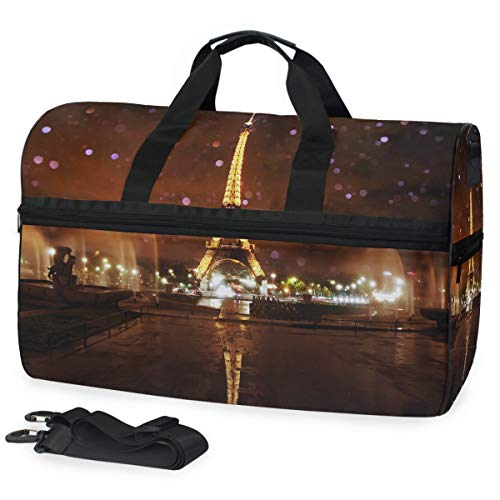 MONTOJ Romantica Parigi Torre Eiffel paesaggio notturno oversize tela borsa da viaggio borsone spalla durante il weekend borsa
