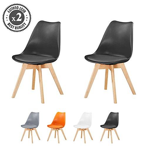 MCC Lot de 2 Chaises du Style DSW Inspire par Eames chaises Salle-à-Manger avec Assise rembourrée et Pieds en Bois de hêtre Massif, Usage Domestique/Commercial/EVA by (Noir)