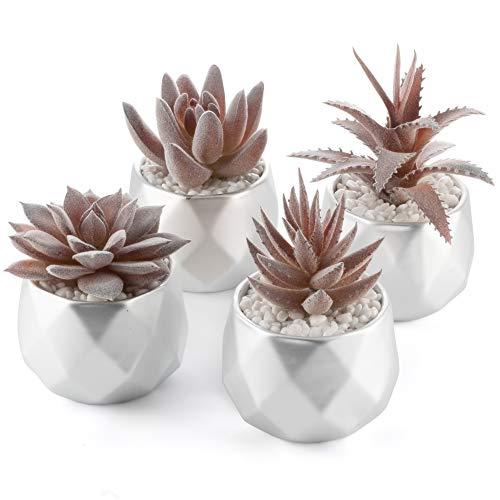 4 Pcs Artificial Pink Succulent Plants in Mini Pots