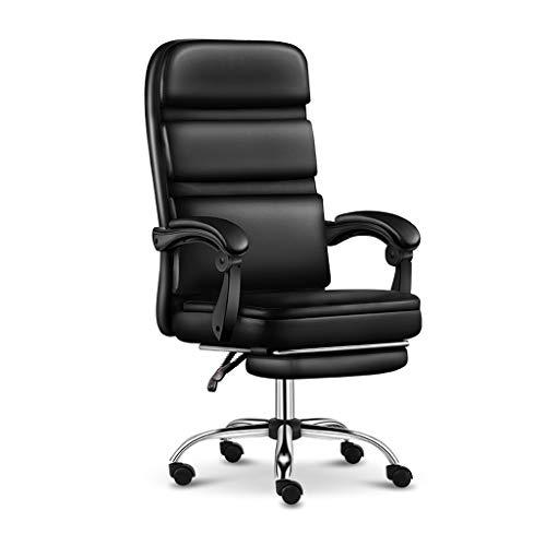 Comif- Executive Office Chair PU-Ledersessel mit hoher Rückenlehne, Schreibtischstuhl mit Rädern, höhenverstellbar und 150 ° liegend, schwarz/weiß