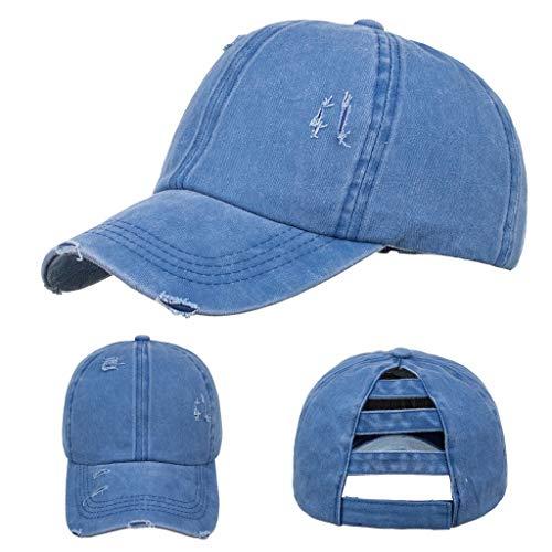 JieGorge Sombrero de béisbol ajustable unisex para hombre y mujer, color sólido, sombrero de béisbol de estilo hip hop, sombrero, zapatos de ropa y accesorios (azul)