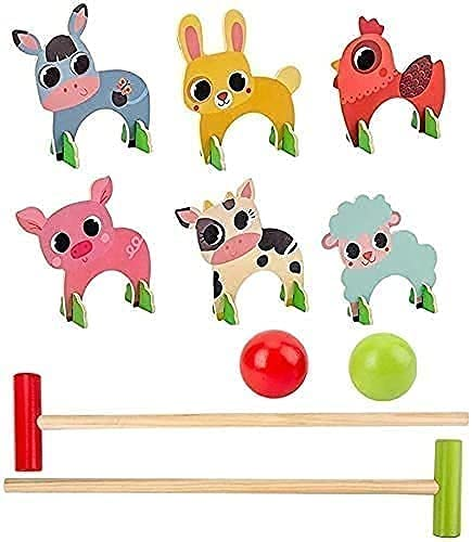 WDSZXH Animales de Madera Croquet Set Golf Juguetes con 2 Bolas Early Educational Juego Regalo para niños Juegos de Animales al Aire Libre Juegos de jardín Regalos de Golf