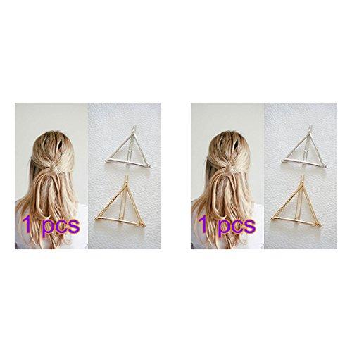 GODHL 2pcs vorzueglich Elegante Triangolo Hairpin Capelli Clip Pin capelli fermaglio per capelli ago per ragazza–Golden argento