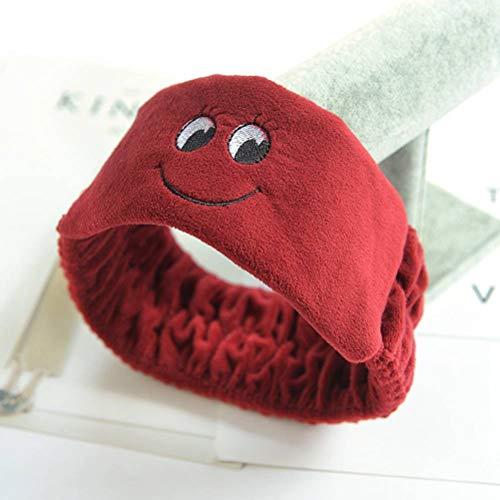 Ihairband Fille Bandeaux, Wine Red Cute Smiley Face Wash Fourrure Visage Cheveux Coiffure Cartoon Bande Élastique Fille Bowknot, Soft Head Wrap Sports