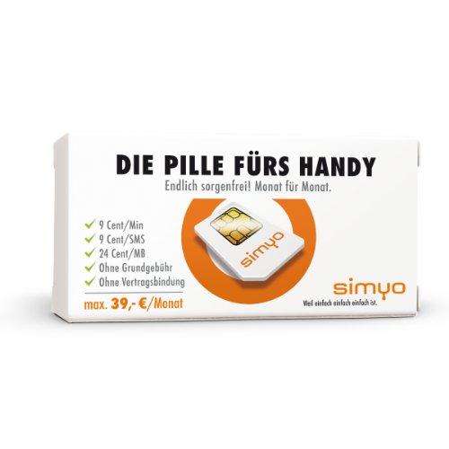 Simyo SIM-Karte (inkl. 5 EUR Startguthaben, 9 Cent / Minute, 9 Cent / SMS / inkl. 30 Tage Internet-Flatrate)