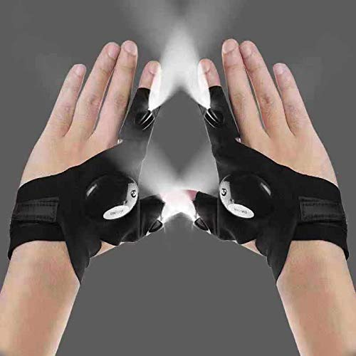 LED fishing glove lights gadgets for men Light gloves flashlight gloves, used to repair cars in the dark, running at night, fishing, camping and hiking, birthday gifts for men and women (1 pair)