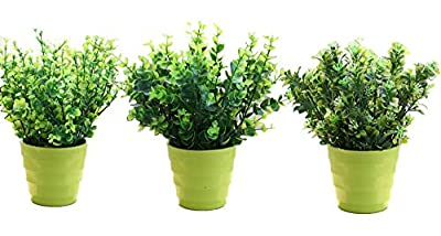 XICHEN 3 suit Artificial Potted Simulation plant potted indoor green plant small bonsai pastoral living room office display simulation flower