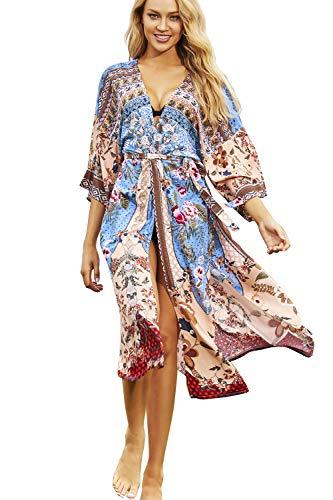 YouKD Damski Bawełniany Kardigan Czeski Długi Plażowy Strój Kąpielowy Kimono Sukienka Cover Up Szata Dla Puszystych