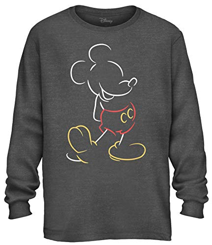 Disney Mickey Mouse Line Pop Men's Adult Graphic Long Sleeve Tee T-Shirt (Charcoal Heather, Large)