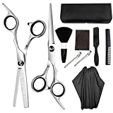 10Pcs Professional Hair Cutting Scissors Set Thinning Shears Hair Razor Comb Clips Cape Hairdressing Kit Barber Home