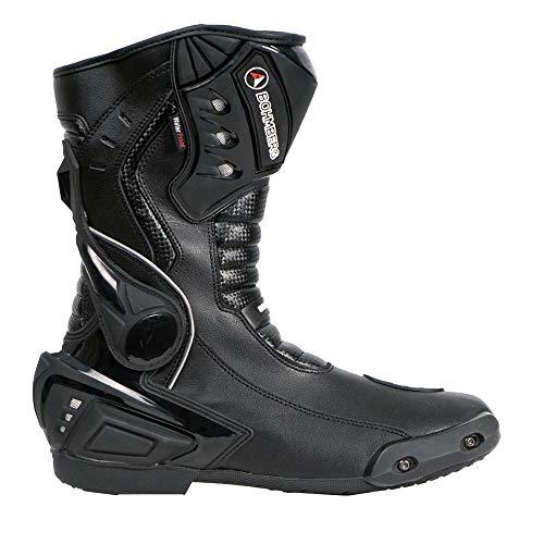 Bohmberg Herren Motorradstiefel, Sportstiefel aus Leder, Motorradschuhe Wasserdicht aus stabilem Leder mit aufgesetzten Hartschalenprotektoren,Schwarz Gr.44