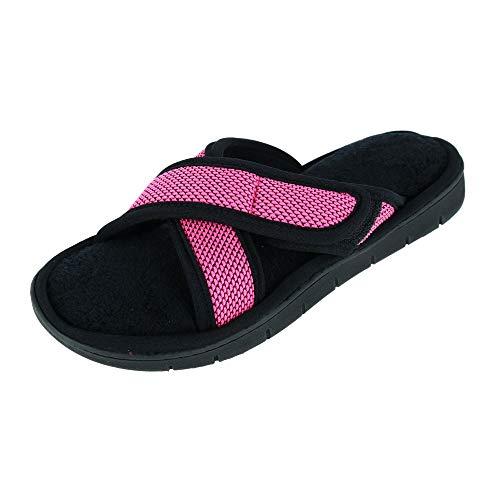 isotoner Women's Scout Mesh Knit Criss Cross Slide Slippers, 6.5-7, Strawberry