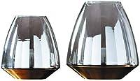 花器 ガラスの花瓶ゴールドボトム花瓶手作りのリビングルームキッチンテーブル結婚式のギフトスモーク2点セット21 * 19.5 * 10.5センチメートル 花瓶