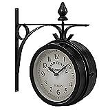 GOPLUS zweiseitige Wanduhr Bahnhofsuhr Gartenuhr doppelseitige Uhr Zeitanzeiger 33 x 30 x 10 cm (H x L x B) schwarz