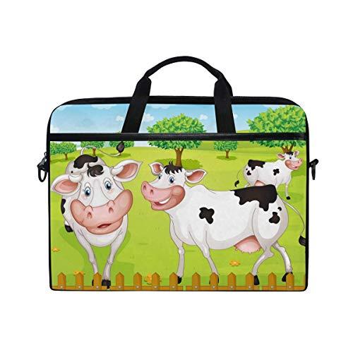 Laptop Sleeve Case,Laptop Bag,Cute Farm Animal Cow Smile Water Briefcase Messenger Notebook Computer Bag with Shoulder Strap Handle,29×40 CM/15.6 Inch