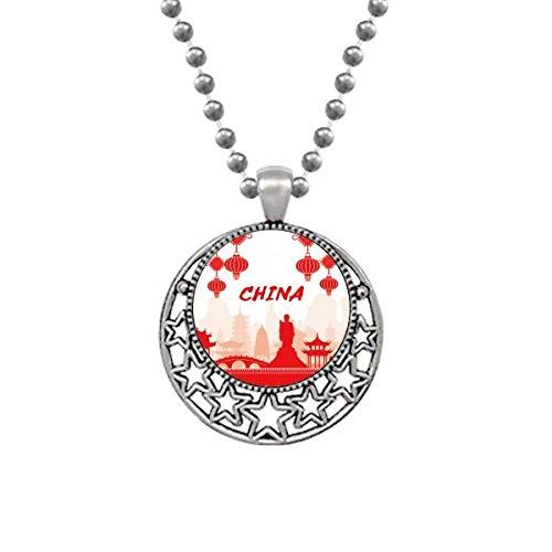 Esquema Rojo Monumento China Collares Colgante Retro Luna Estrellas Joyería