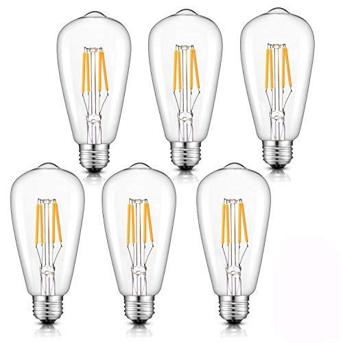 Lot de 6 Ampoule LED ¨¤ Filament Dimmable E27 ST64 Retro Edison Vintage 400 Lumens 4W Equivalent ¨¤ Ampoule Halog¨¨ne de 40W Angle de Faisceau 360 ¡ã pour la D¨¦coration 3000K-Blanc Chaud