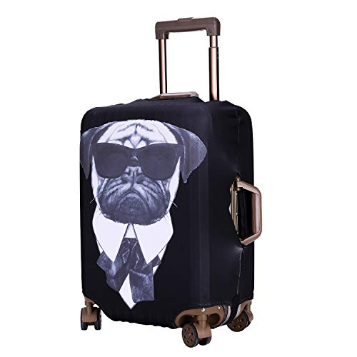 TOGEDI Luggage Cover Suitcase Animal Elastic Trave Protector Anti-Scratch Baggage Cover Protector Washable Dust Thicken Elasticity Cover Travel for 18-32inch Luggage (Bulldog,XL)