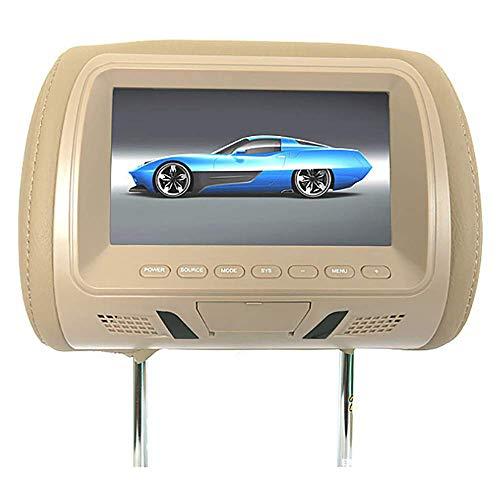 Coche Reproductor De DVD para Reposacabezas De 7 Pulgadas, Monitor Pantalla LCD Digital De Alta DefinicióN, ResolucióN 800 × RGB × 480, Compatible con Varios Idiomas,Beige