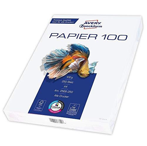 Avery Zweckform 2566 Drucker-/Kopierpapier (250 Blatt, 100 g/m², DIN A4 Papier, hochweiß, für alle Drucker)